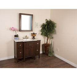 Bellaterra 45-inch W 4-Drawer 2-Door Freestanding Vanity in Sable Walnut With Marble Stone Top in White