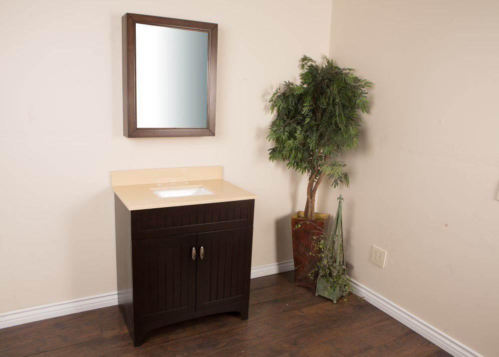 32-inch W Vanity in Sable Walnut Finish with Quartz Top in Cream