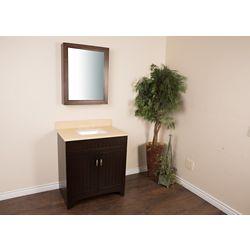 Bellaterra 32-inch W 2-Door Freestanding Vanity in Brown With Engineered Stone Top in Beige Tan