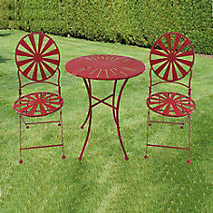 3-Piece Patio Bistro Set Round Table Steel Frame in Red