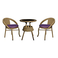 3-Piece Bistro Set with Cushions