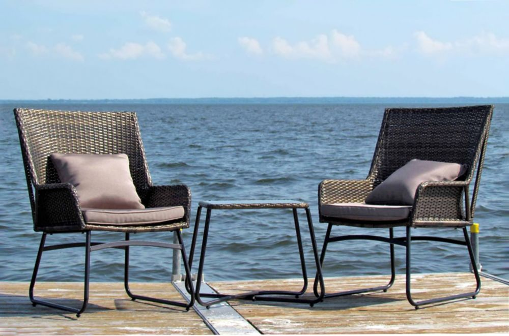 3-Piece Bistro Set with Cushions and Toss Cushions