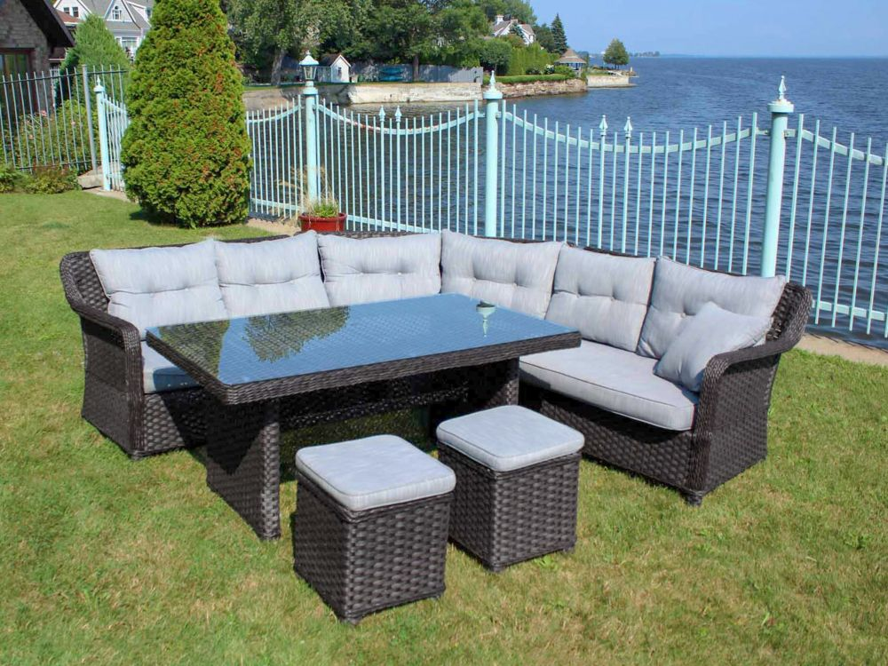 Henryka 4 piece patio conversation sofa set in black and for Black and grey sofa set