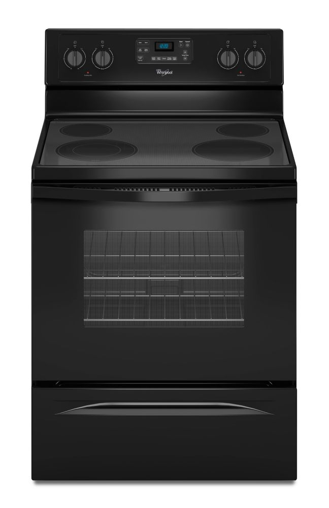 5.3 cu. ft. Free-Standing Electric Range with EasyWipe Ceramic Glass Cooktop in Black