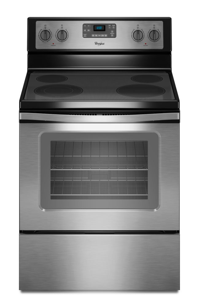5.3 cu. ft. Free-Standing Electric Range with EasyWipe Ceramic Glass Cooktop in Stainless Steel
