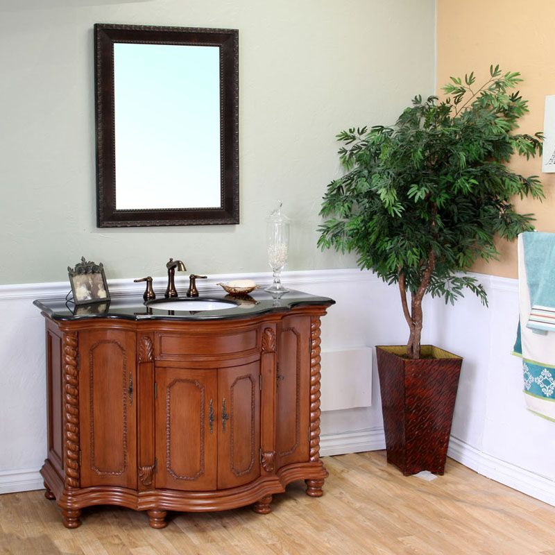 48-inch W Vanity in Light Walnut Finish with Marble Top in Black