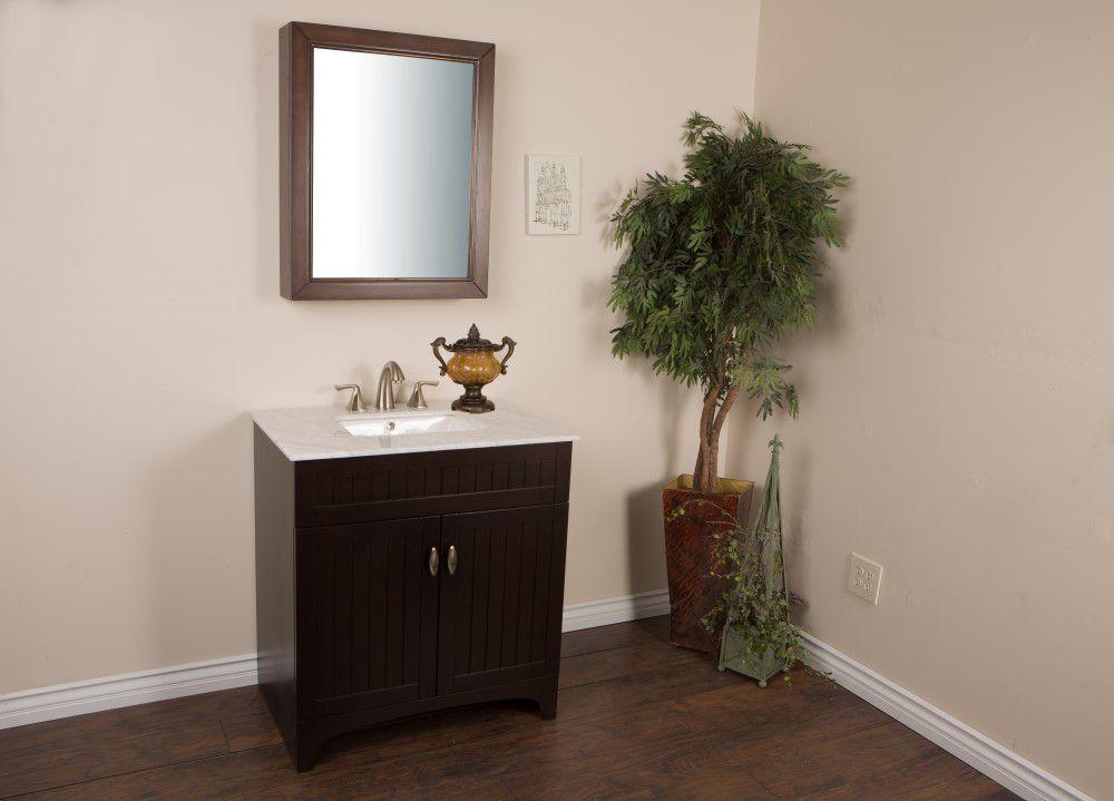 Bellaterra meuble lavabo noyer et sable de 32 po avec for Lavabo et meuble