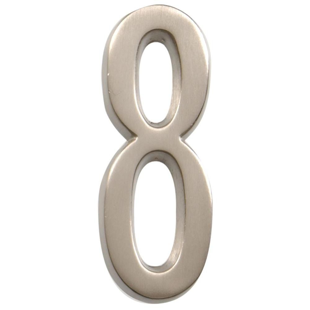 4 Inch Stick-On Brushed Nickel House Number 8