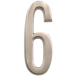 Hillman 4 Inch Stick-On Brushed Nickel House Number 6