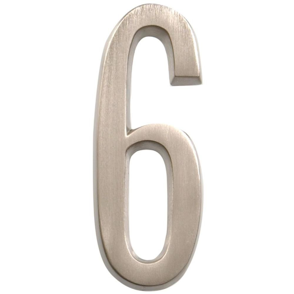 4 Inch Stick-On Brushed Nickel House Number 6