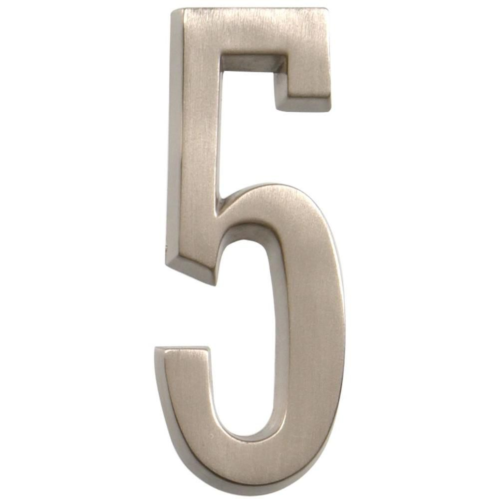 Hillman 4 inch stick on brushed nickel house number 5 for Modern house numbers home depot