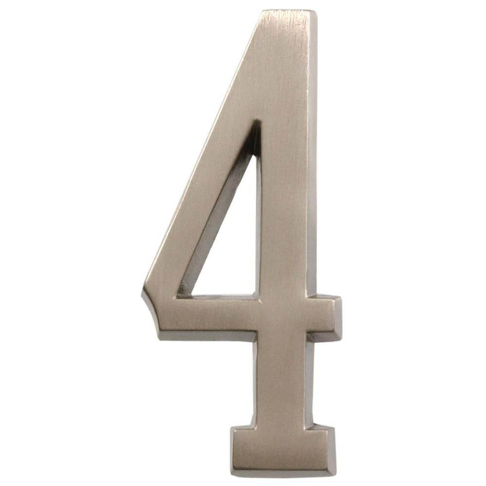 4 Inch Stick-On Brushed Nickel House Number 4