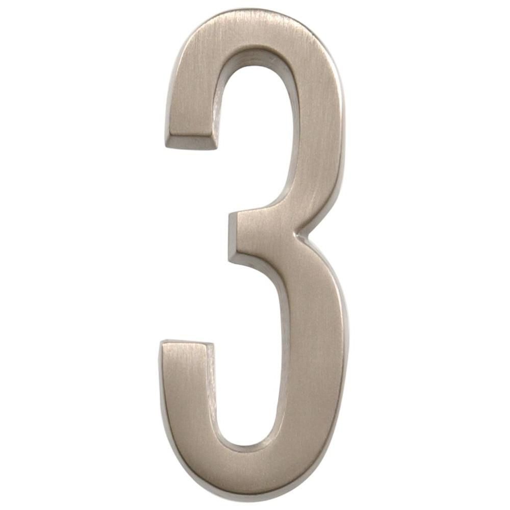 4 Inch Stick-On Brushed Nickel House Number 3