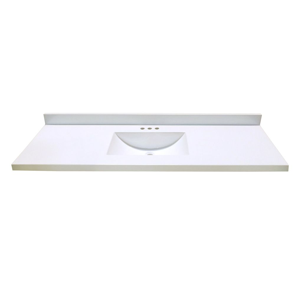 Revêtement de comptoir pour meuble-lavabo en blanc avec lavabo à fond incurvé de 1,54 m x 55,88 c...