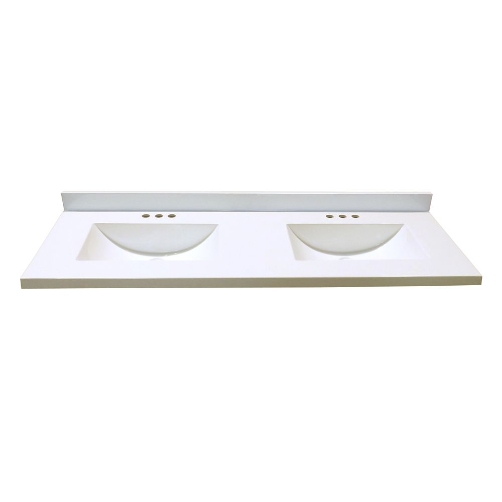 61-Inch W x 22-Inch D Marble Vanity Top in White with 2 Wave Bowls