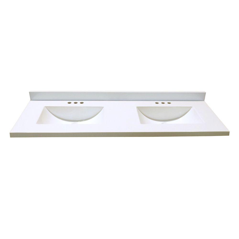 Revêtement de comptoir pour meuble-lavabo en blanc avec deux lavabos à fond incurvé de 1,54 m x 5...