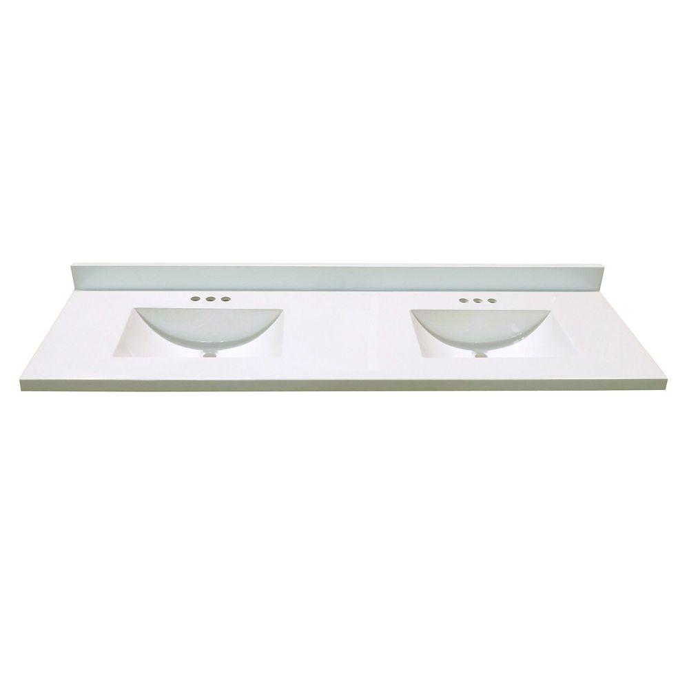 Revêtement de comptoir pour meuble-lavabo en blanc avec deux lavabos à fond incurvé de 1,85 m x 5...
