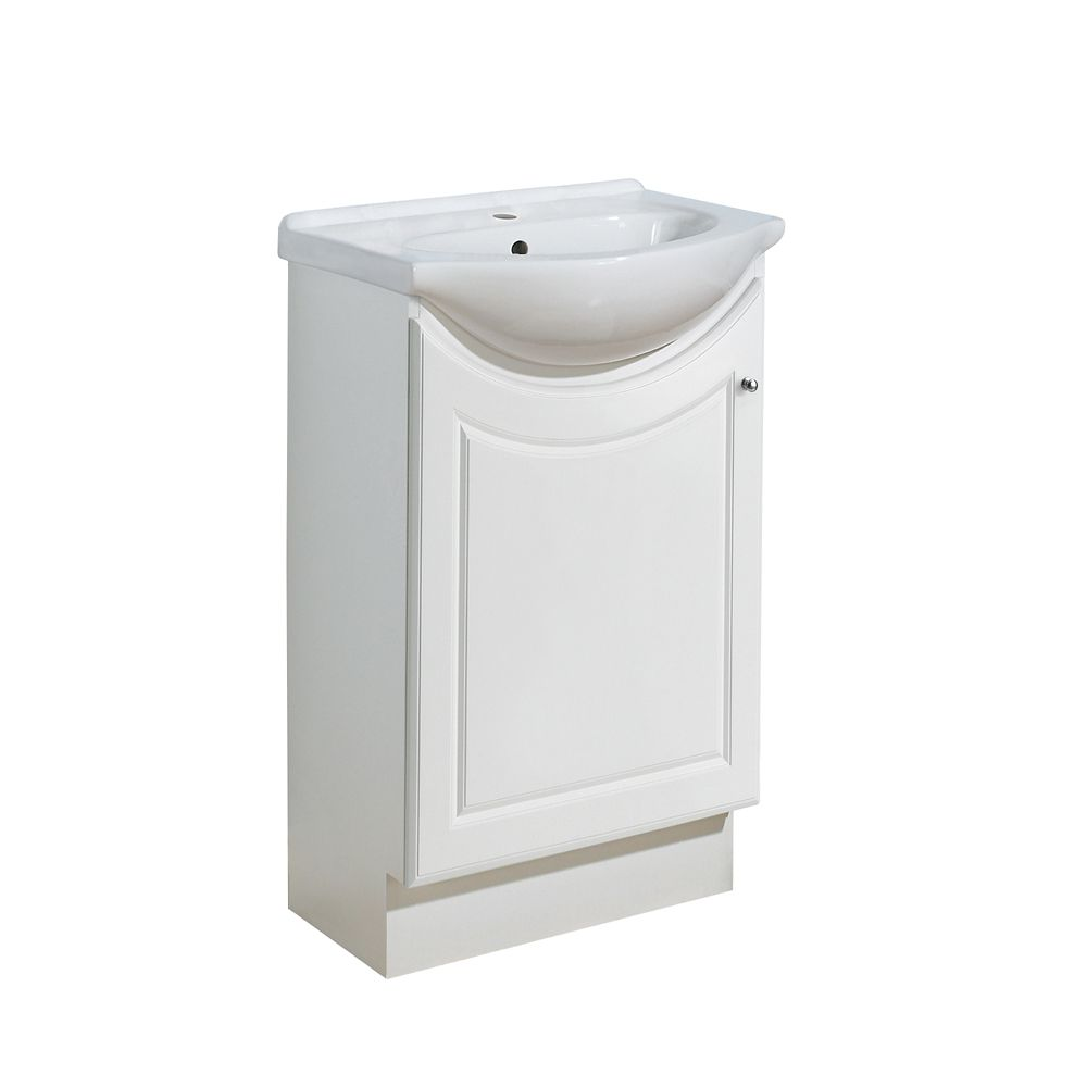 Eurostone Cleo 20-inch W Vanity in Matte White with Porcelain Top in White