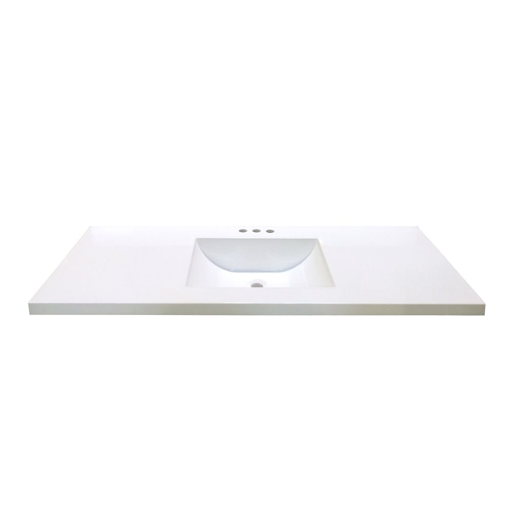 49-Inch W x 22-Inch D Marble Vanity Top in White with Wave Bowl