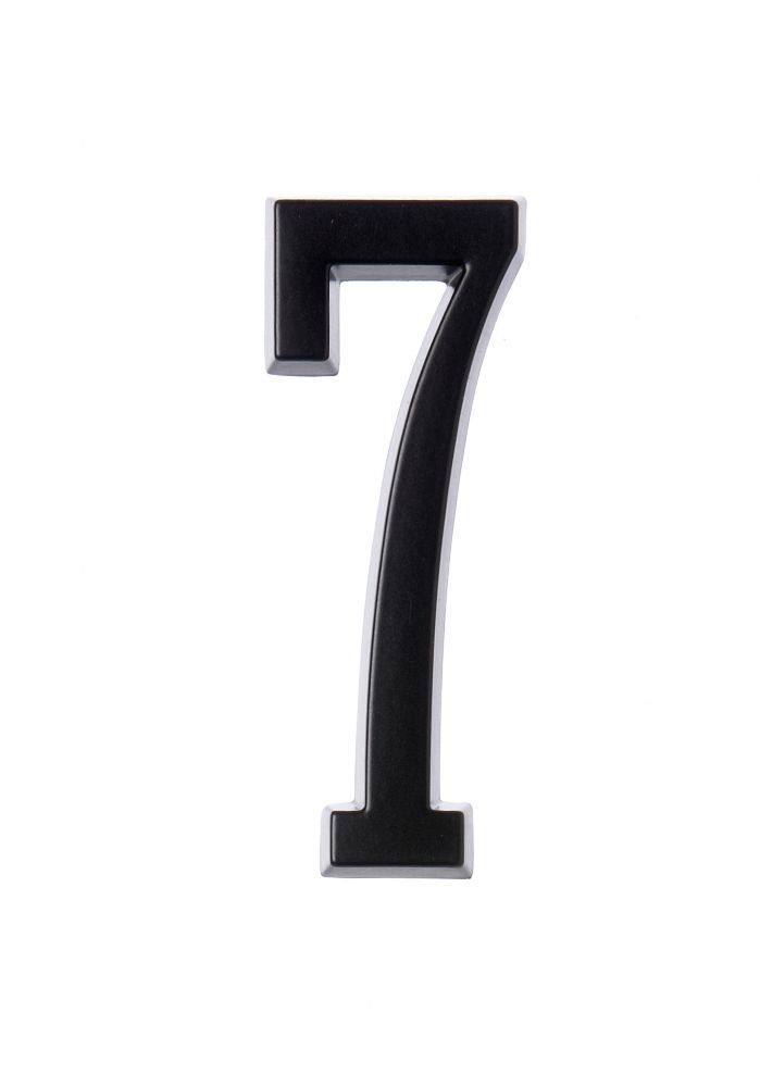 4 Inch Stick-On Black House Number 7