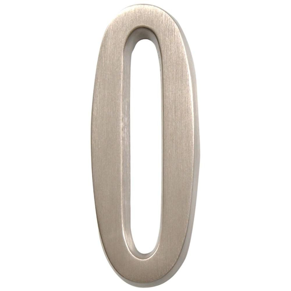 4 Inch Stick-On Brushed Nickel House Number 0