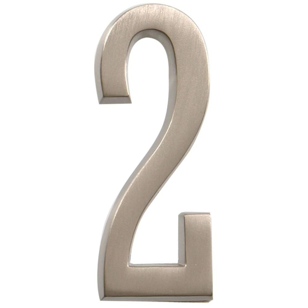 4 Inch Stick-On Brushed Nickel House Number 2