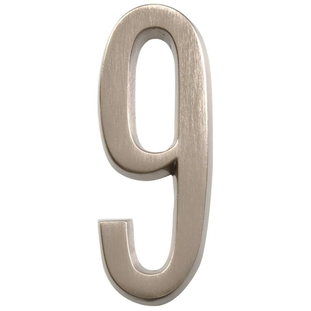 4 Inch Stick-On Brushed Nickel House Number 9