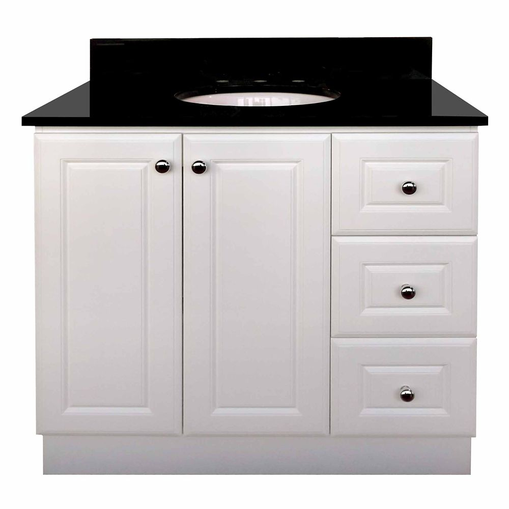 Magick woods 36 inch vanity cabinet in matte white the for Bathroom cabinets 36 inch