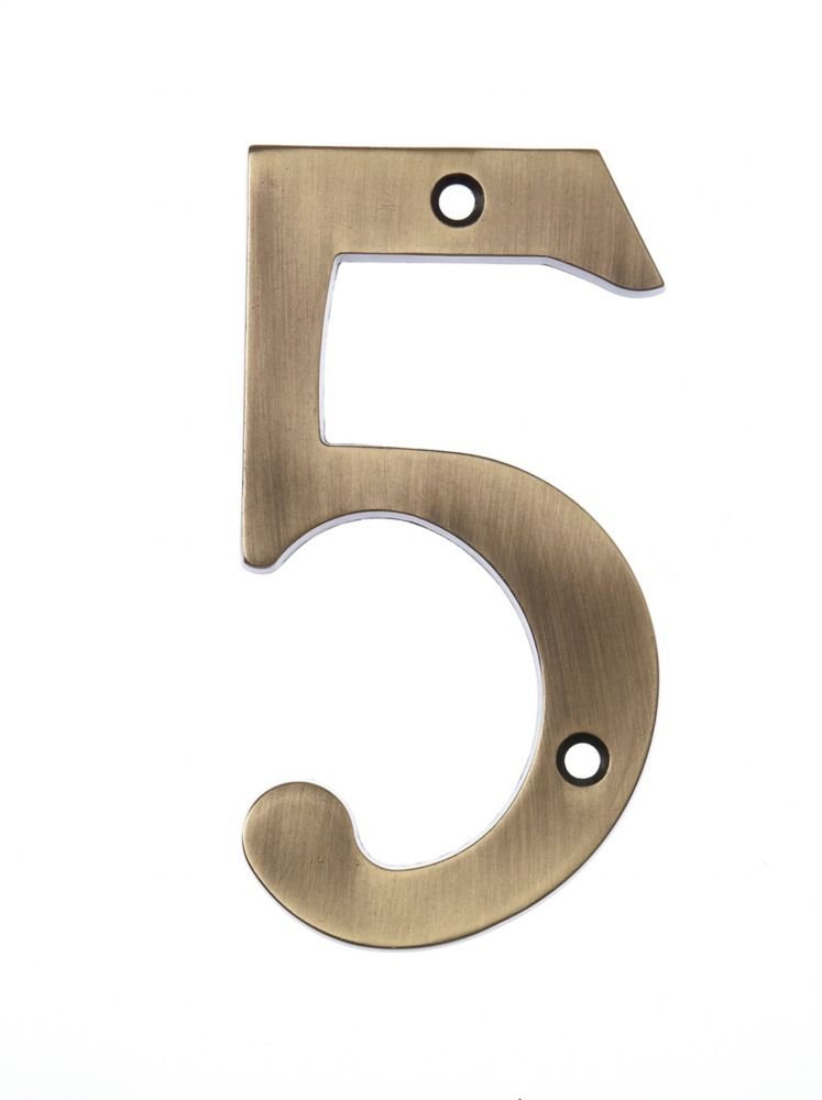 6 Inch Aged Brass House Number 5