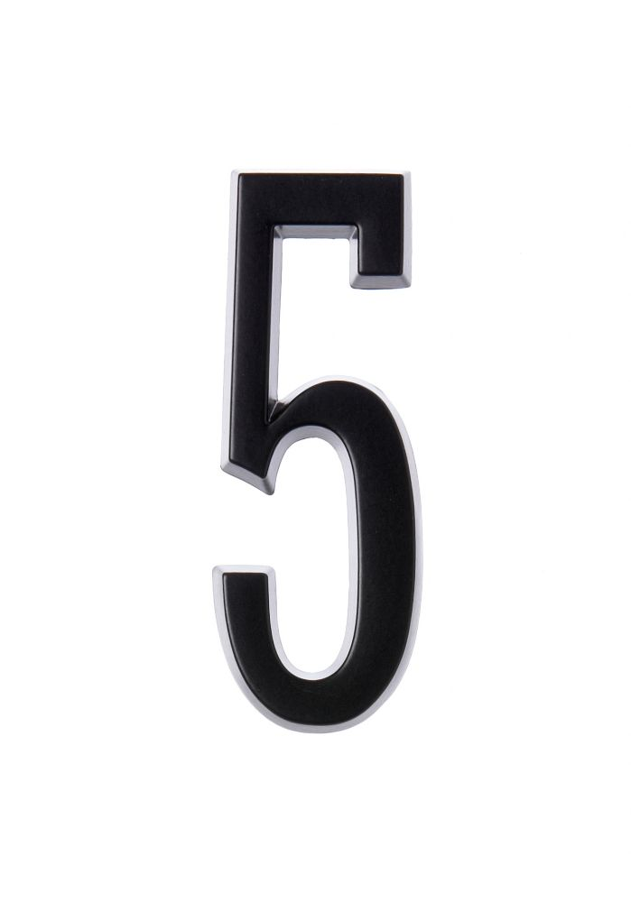 4 Inch Stick-On Black House Number 5