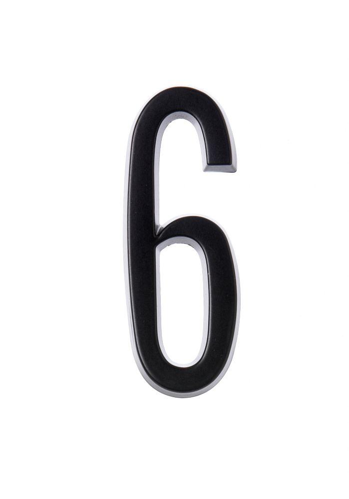 Numéro D'adresse Autocollant 4 Po, Fini Noir, 6