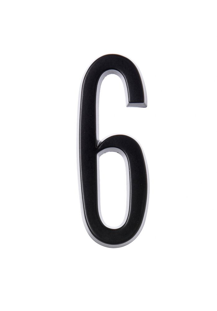 4 Inch Stick-On Black House Number 6