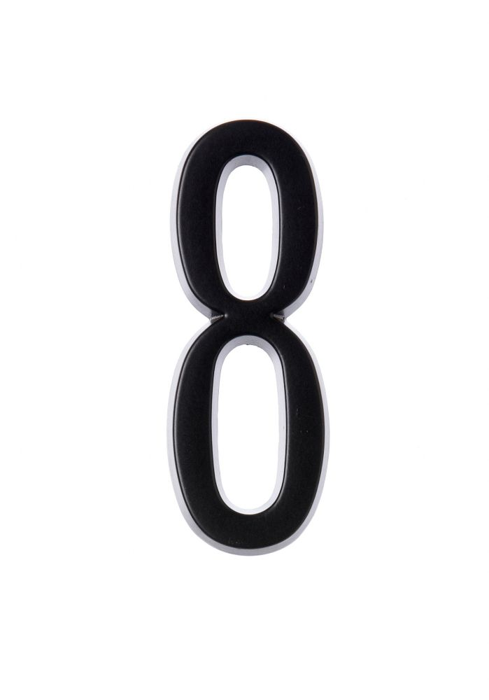 4 Inch Stick-On Black House Number 8