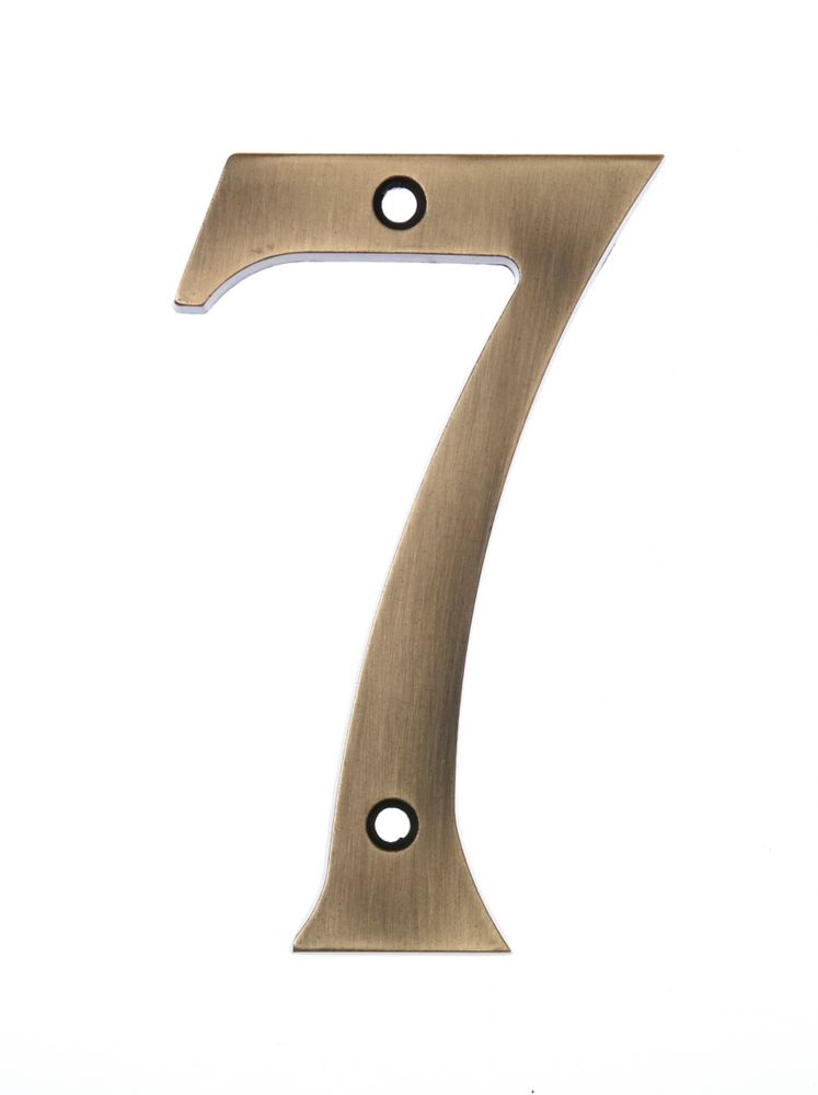 6 Inch Aged Brass House Number 7