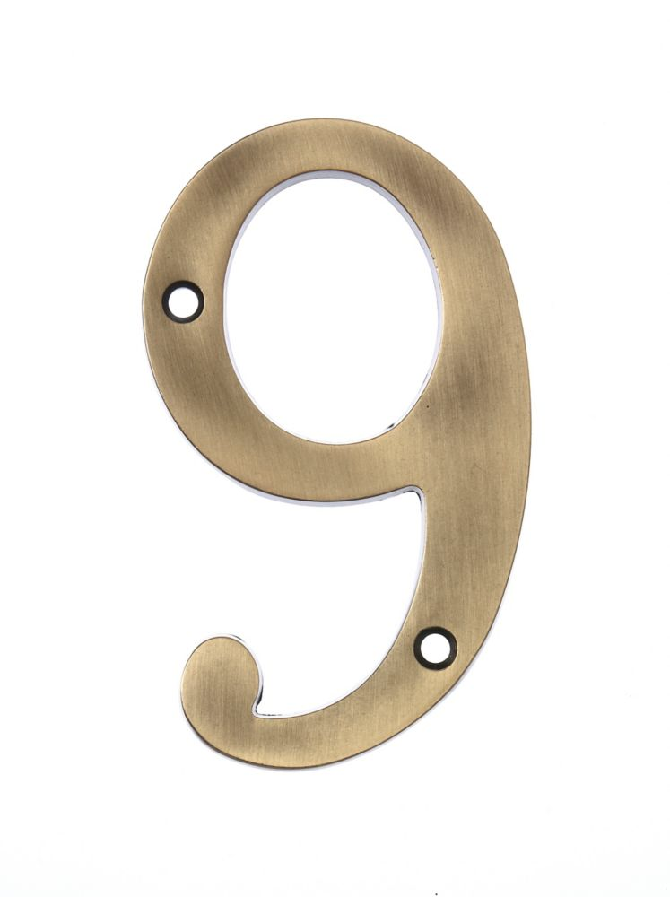 6 Inch Aged Brass House Number 9