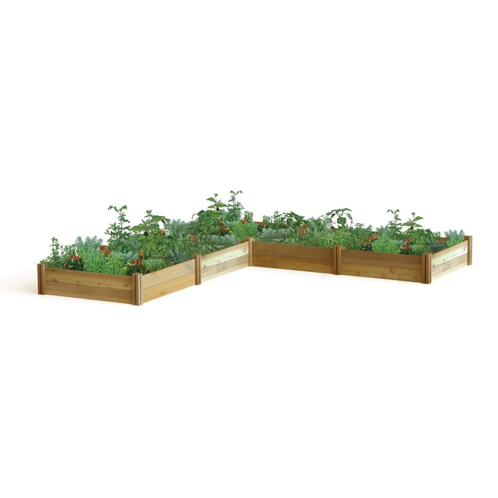 Gronomics l shaped modular raised garden bed 142x142x13 for Home depot raised garden beds