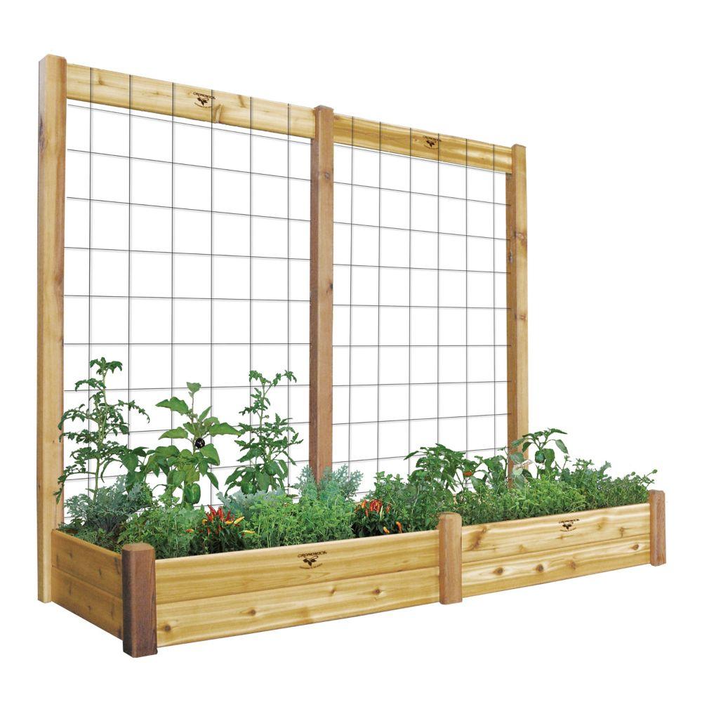 Planche de jardin de 34 x 95 x 13po avec treillis de 95 x 80po, fini non toxique