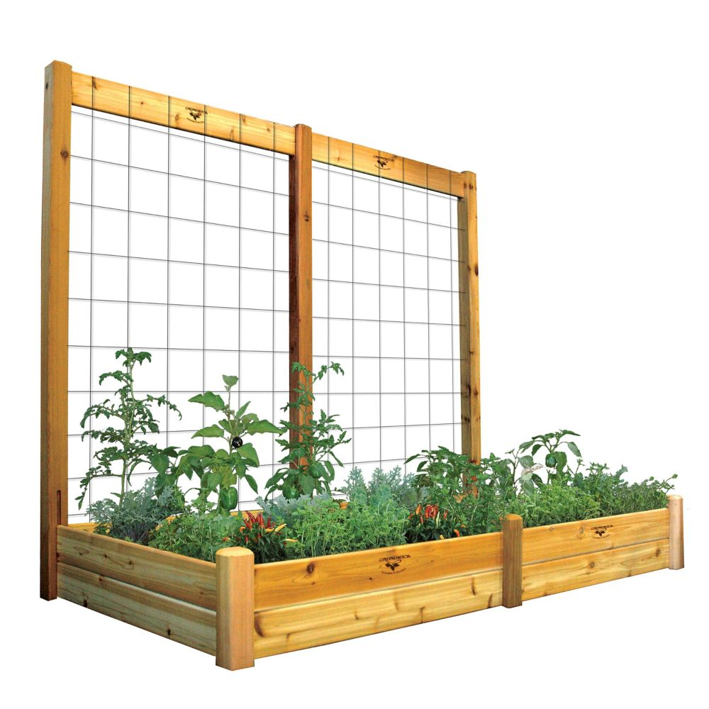 "Raised Garden Bed with Trellis Kit Safe Finish 48x95x80 - 10""D"