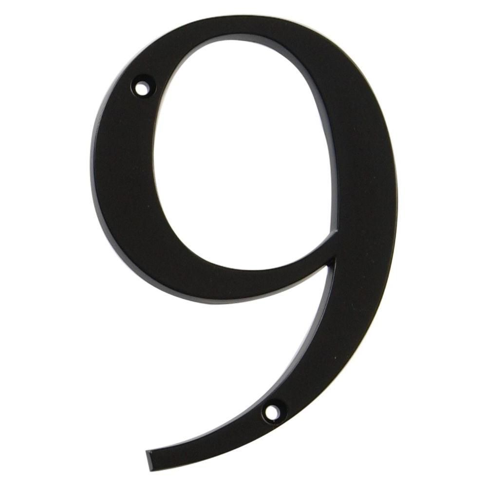 4 Inch Black House Number 9