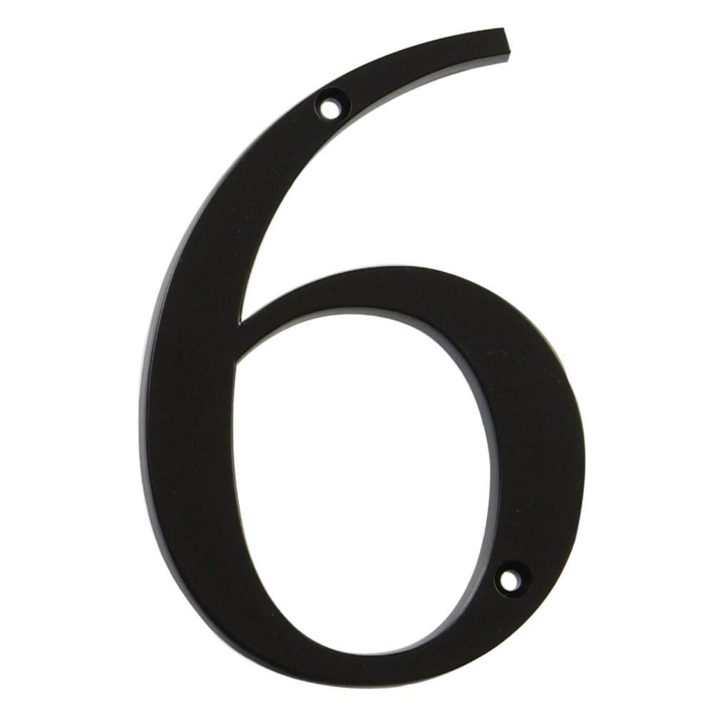 4 Inch Black House Number 6