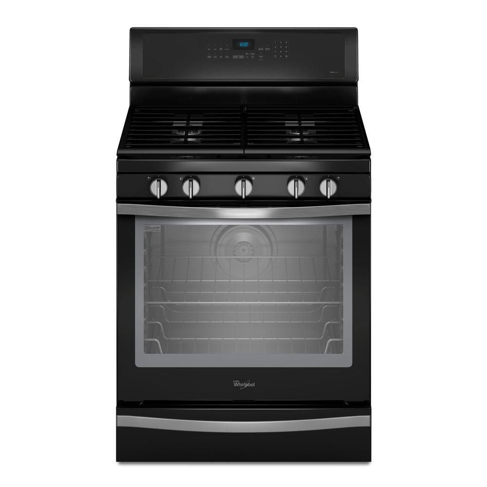 5.8 cu. ft. Free-Standing Gas Range with AquaLift� Self-Cleaning Technology in Black