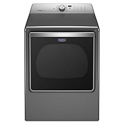 Maytag 8.8 cu. ft. Extra-Large Capacity Gas Dryer with Advanced Moisture Sensing in Chrome Shadow