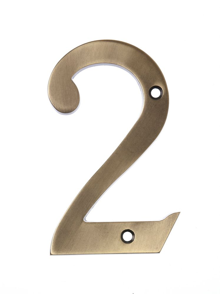 6 Inch Aged Brass House Number 2