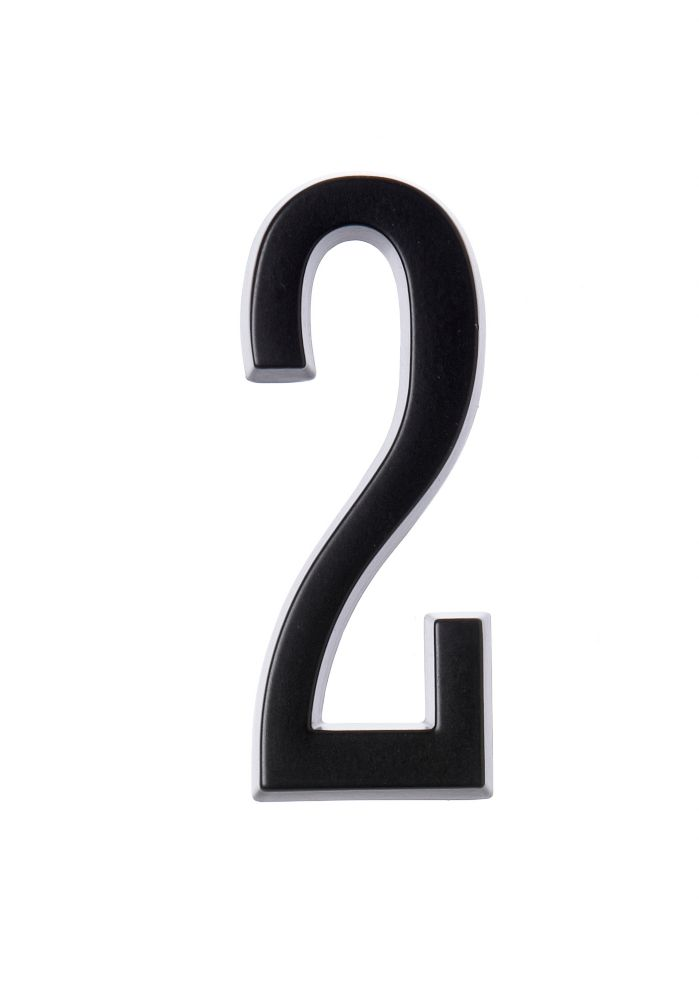 4 Inch Stick-On Black House Number 2