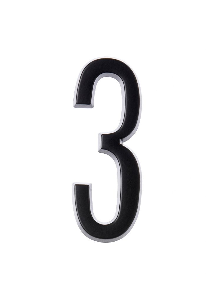 4 Inch Stick-On Black House Number 3