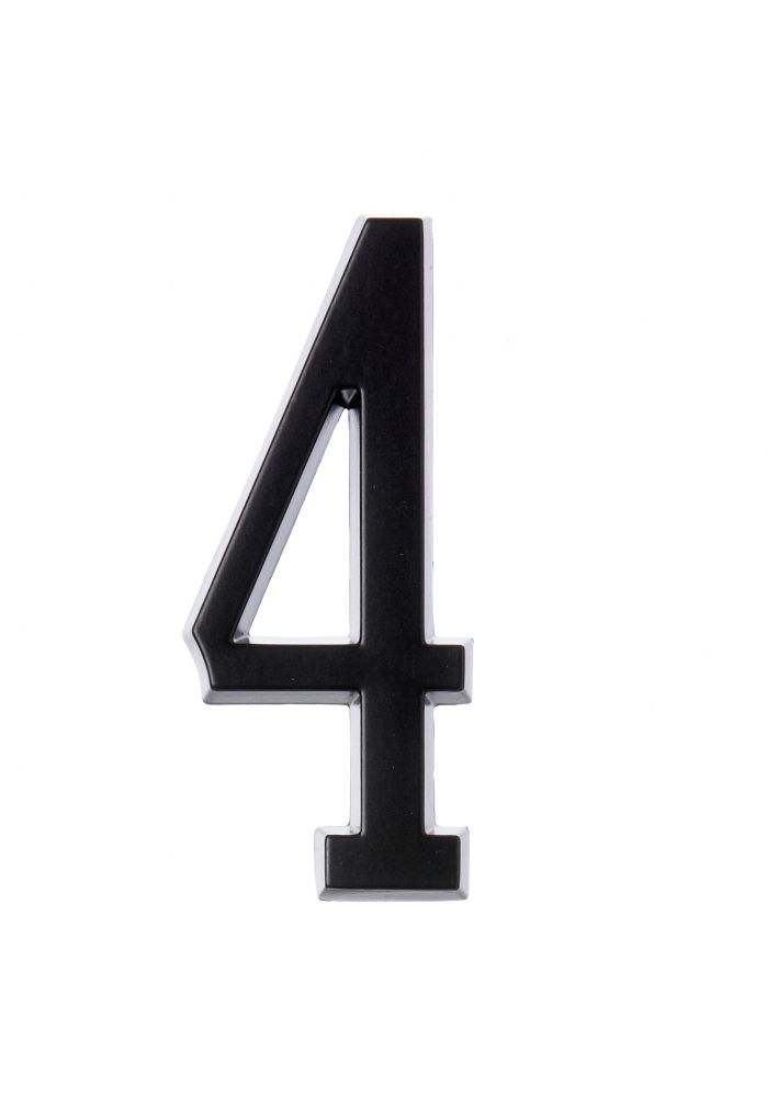 4 Inch Stick-On Black House Number 4