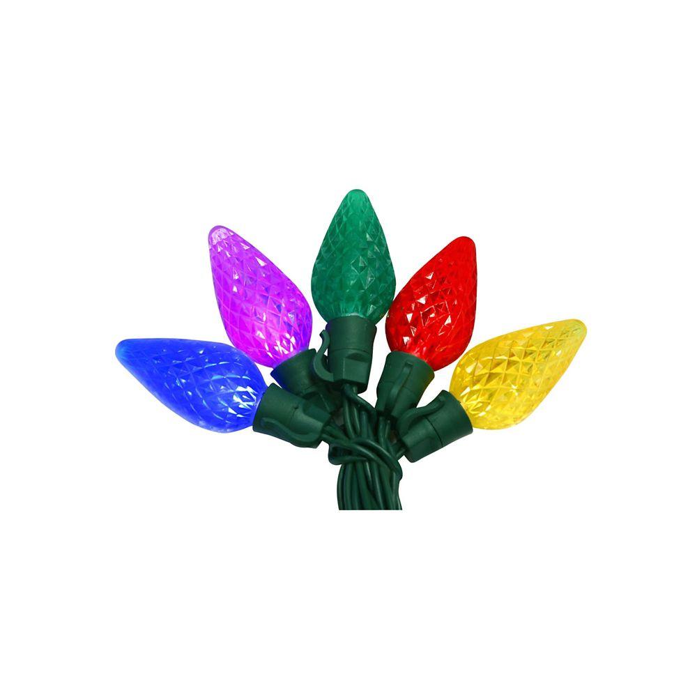 Ecosmart Lumières à DEL à facettes super brillantes multicolores de type C9 commercial, jeu de 50