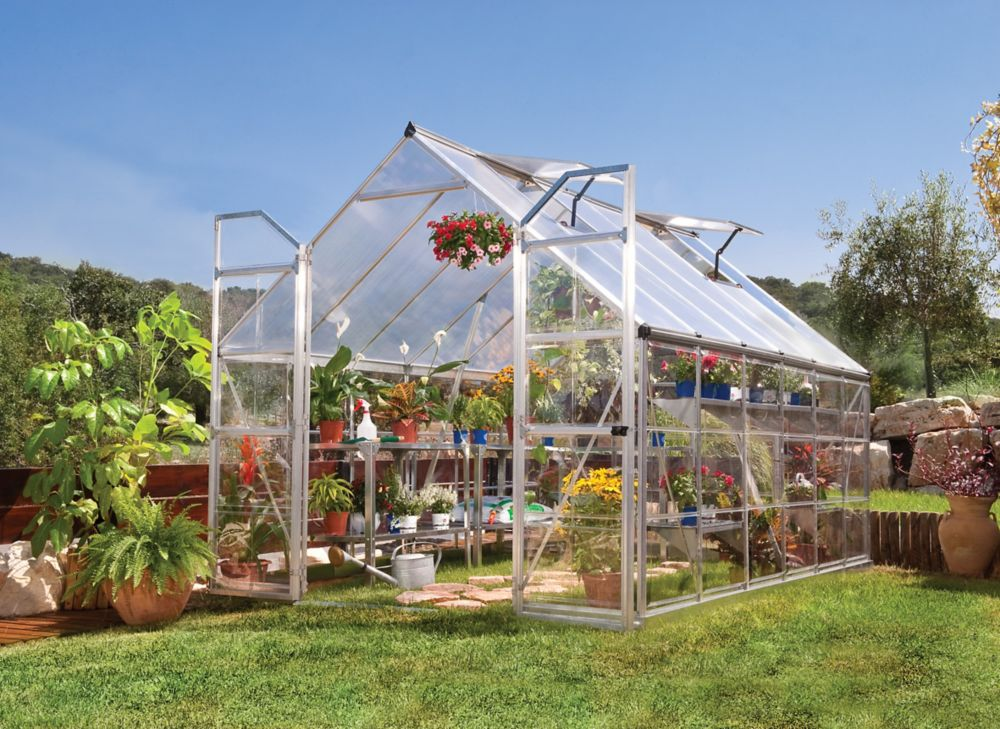 Palram palram 8 feet x 12 feet balance greenhouse the home depot canada - Serre de jardin brico depot ...
