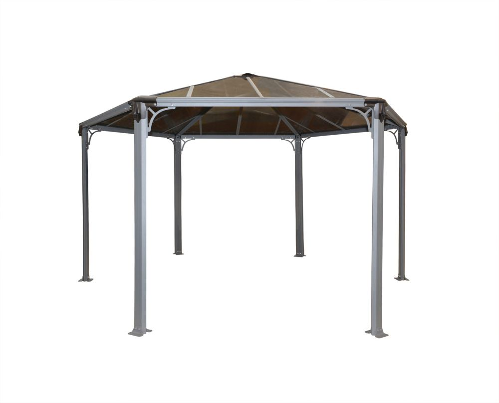 Palram Monaco 14 ft. Hexagonal Garden Gazebo in Basalt-Grey