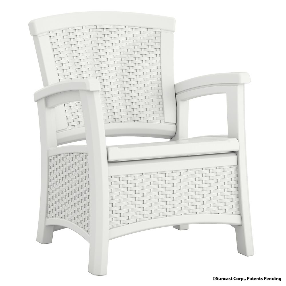 Club Chair with Storage, White